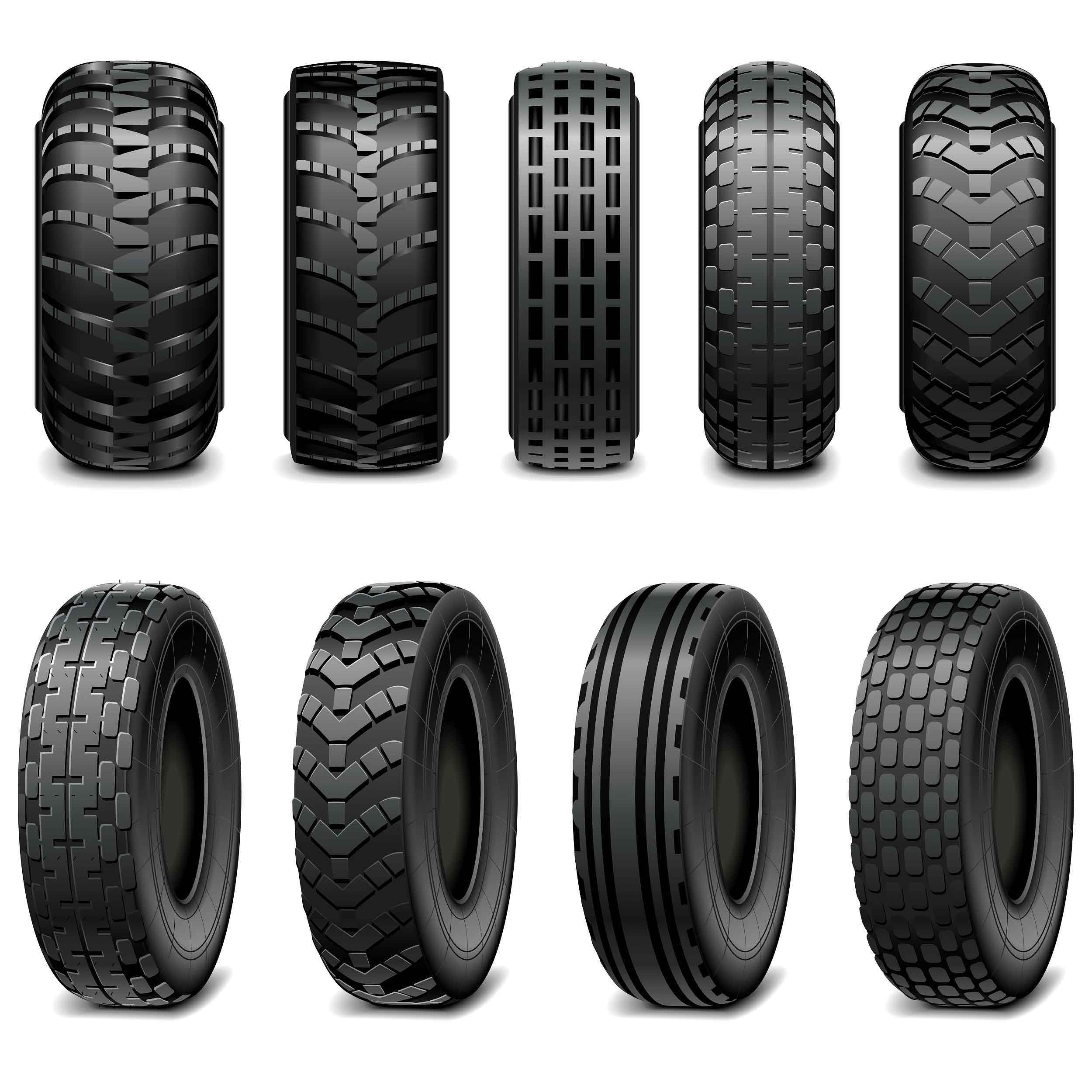 Vector Truck and Tractor Tires isolated on white background